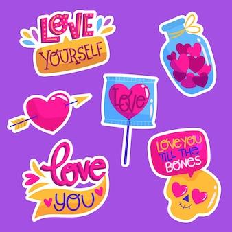 Plat kleurrijke liefdescollectie