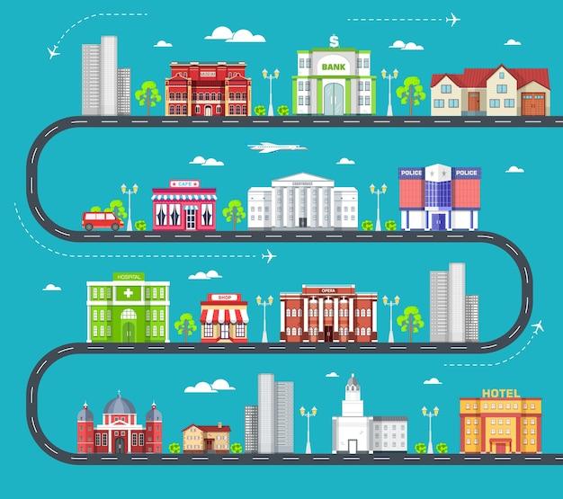 Plat kleurrijke stadsgebouwen set
