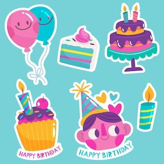 Plat kleurrijke verjaardagscollectie
