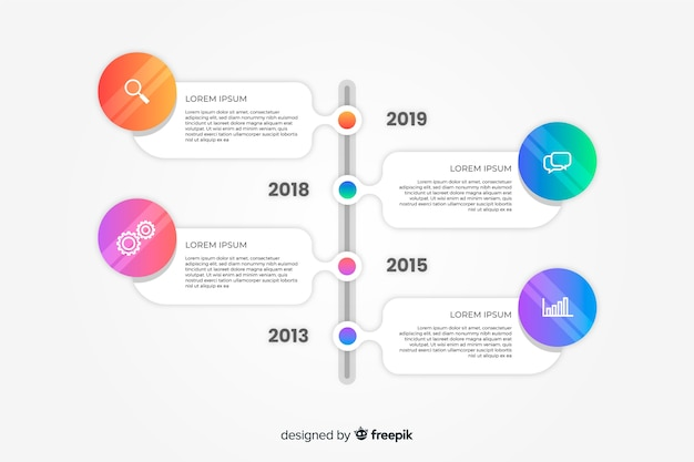 Plat kleurrijke verloop tijdlijn infographics