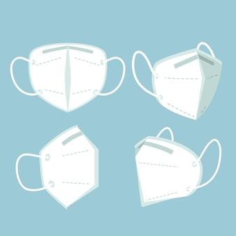 Plat kn95 gezichtsmasker in verschillende perspectieven