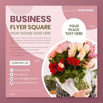 Plat kwadraat flyer bloemenwinkel
