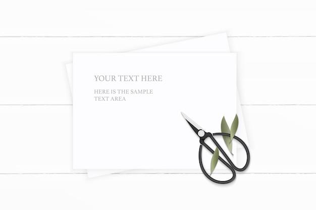 Plat lag bovenaanzicht elegante witte samenstelling papier natuur blad en vintage metalen schaar op houten achtergrond.