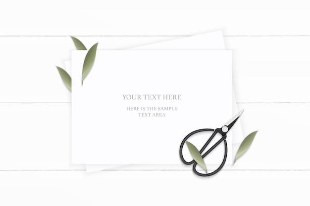 Plat lag bovenaanzicht elegante witte samenstelling papier plant blad en vintage metalen schaar op houten achtergrond.