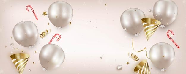 Plat lag decoraties met ballons en snoepgoed, sjabloon voor spandoek