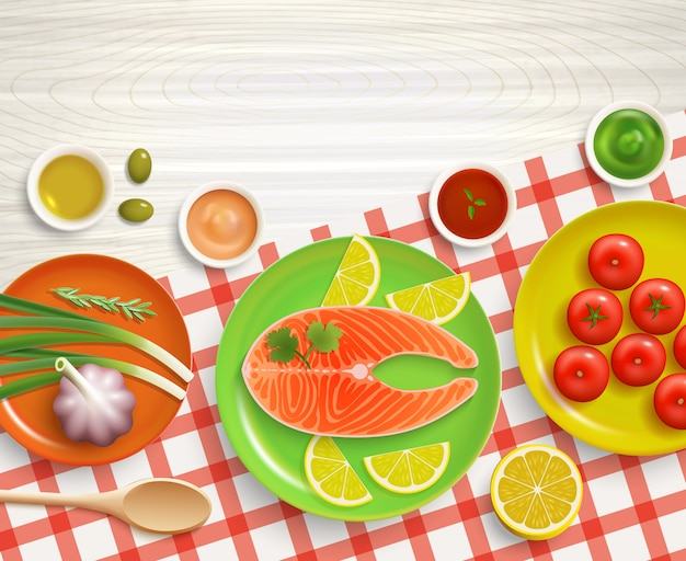 Plat lag koken tafellaken hout achtergrond
