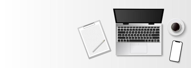 Plat lag minimale werkruimte, bovenaanzicht bureau met computer laptop