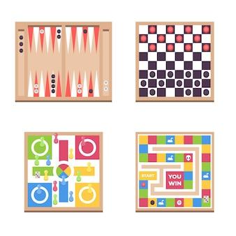 Plat lag verzameling bordspellen samenleving