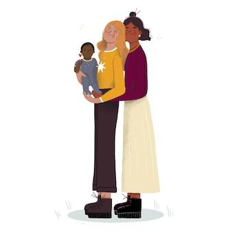 Plat lesbisch koppel met een kind