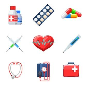 Plat medische elementen instellen. pil thermometer tonometer hartslag therapie medicament capsule.