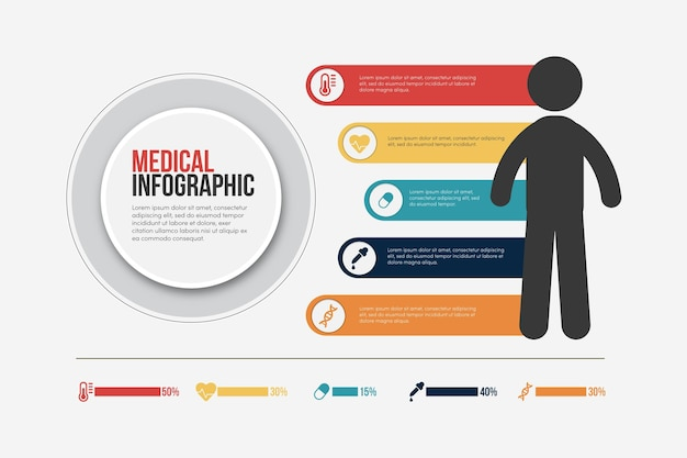 Plat medische infographics concept