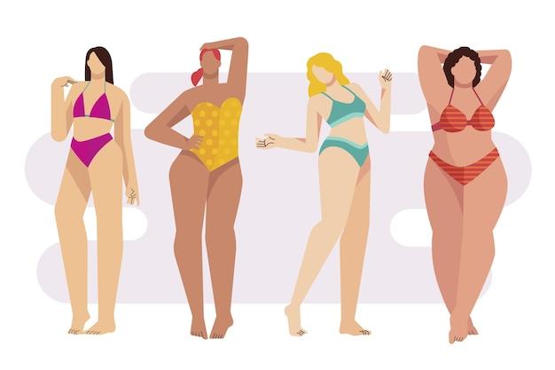 Plat meisje in bikini illustratie set