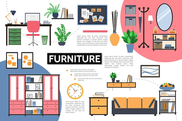 Plat meubilair infographic concept met ontwerper werkplek planten kast foto's klok nachtkastjes spiegel