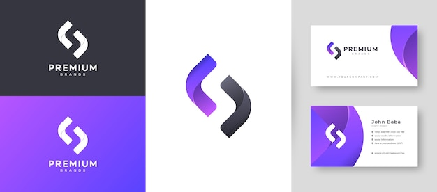 Plat minimaal eerste s brief logo met premium visitekaartje ontwerpsjabloon voor uw bedrijf