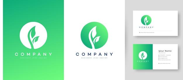 Plat minimaal en kleurrijk landbouw natuur blad logo met premium visitekaartje ontwerpsjabloon