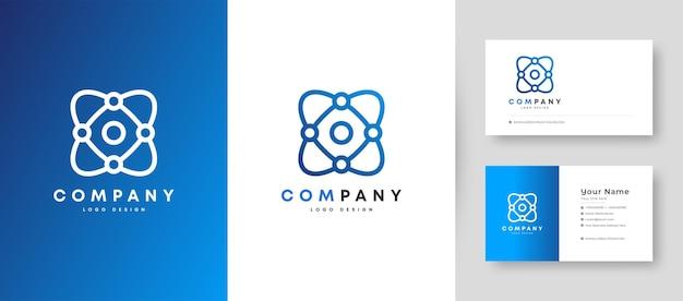 Plat minimaal technologie-logo met premium visitekaartje ontwerpsjabloon