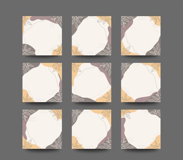 Plat minimalistisch ontwerp zomer lijntekeningen bloemen achtergrond