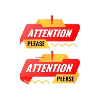 Plat modern aandacht alstublieft sjabloon voor spandoek