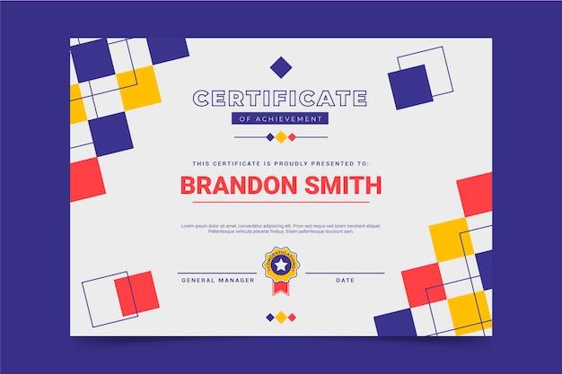 Plat modern certificaat van prestatie