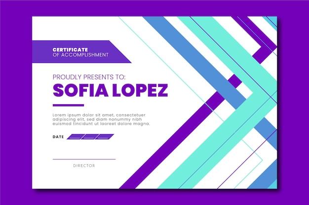 Plat modern certificaat van voltooiing