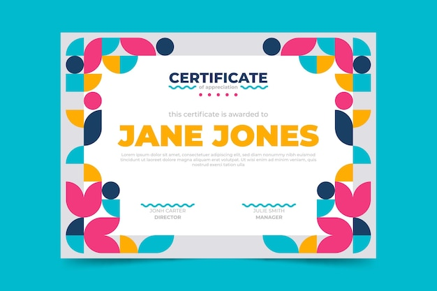 Plat modern certificaat van waardering