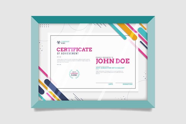 Plat modern certificaatsjabloon Gratis Vector