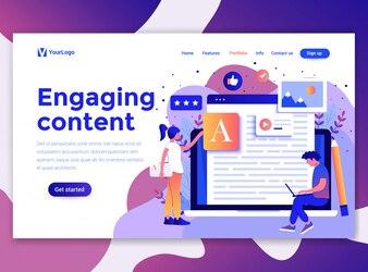 Plat modern ontwerp van de website sjabloon