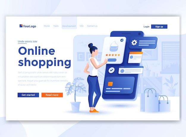 Plat modern ontwerp van wesitesjabloon - online winkelen