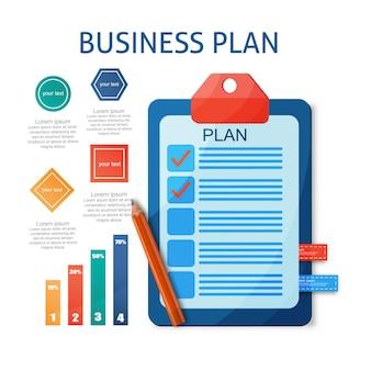 Plat modern ontwerpconcept van bedrijfsplanning management baanorganisatie met plan