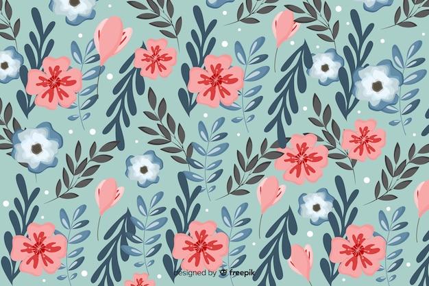 Plat mooie bloemen achtergrond op batik patroon