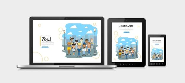 Plat multiraciale mensen adaptief ontwerpconcept met multi-etnische multiculturele jongens en meisjes op stadsgezicht