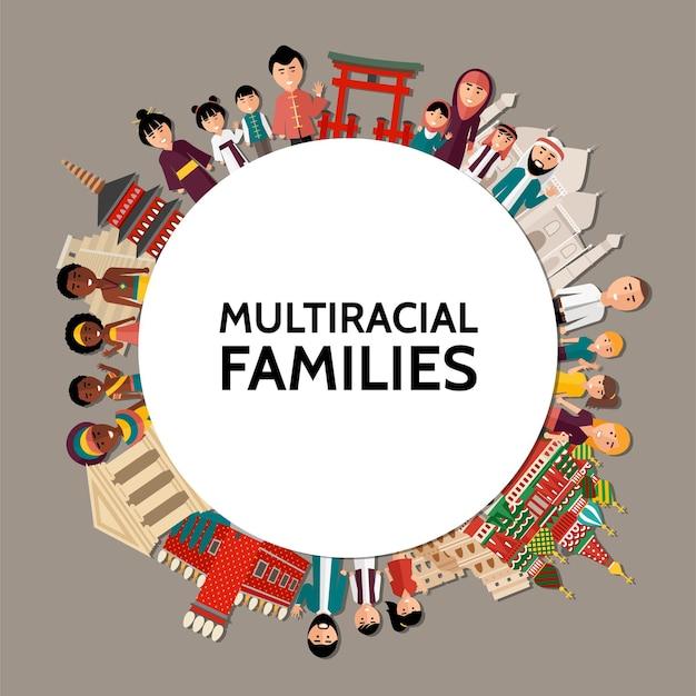 Plat multiraciale mensen rond concept met mannen, vrouwen, kinderen van verschillende etniciteiten en bezienswaardigheden van verschillende landen illustratie
