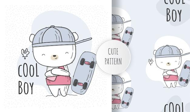 Plat naadloos patroon schattige baby beer met skateboard