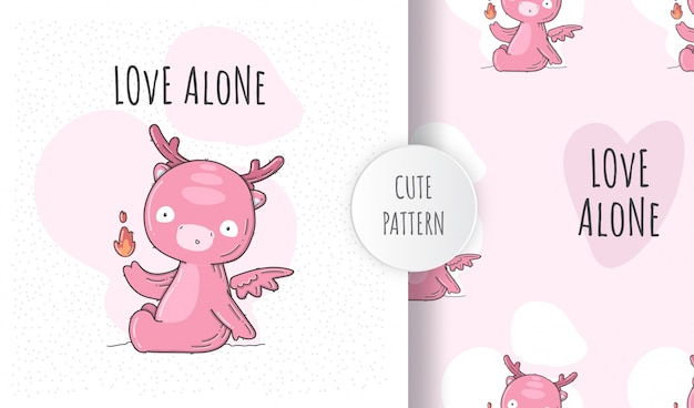 Plat naadloos patroon schattige baby dino roze
