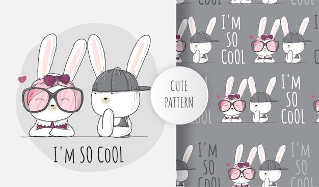 Plat naadloos patroon schattige dieren mooie konijntjes