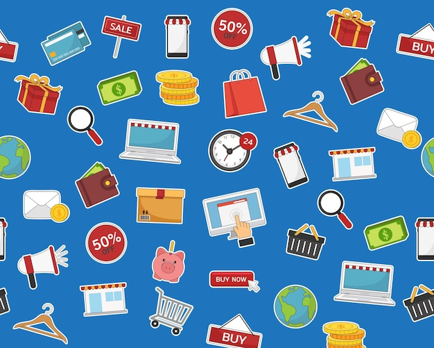 Plat naadloos structuurpatroon e-commerce