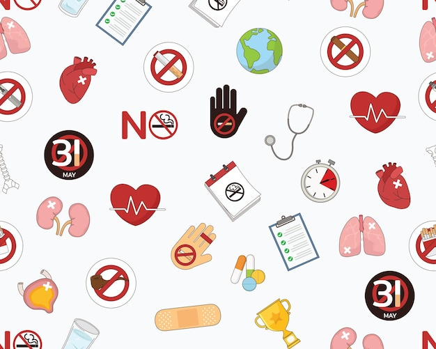 Plat naadloos structuurpatroon werelddag zonder tabak