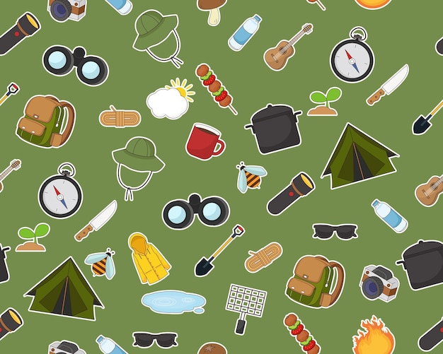 Plat naadloos structuurpatroon zomer kamperen