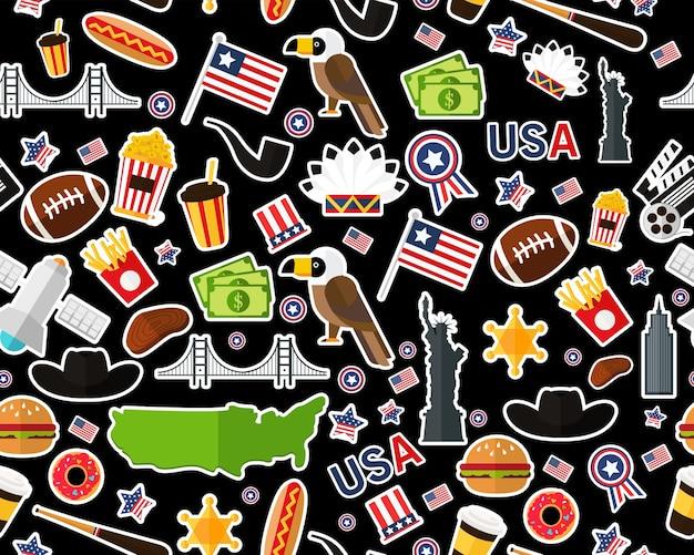 Plat naadloos textuurpatroon de verenigde staten van amerika