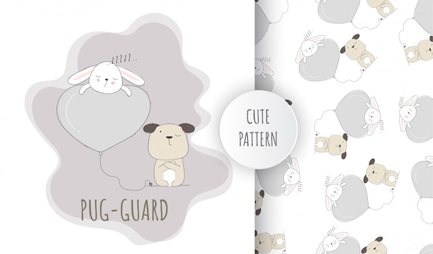 Plat naadloze patroon schattige dieren pug puppy en slapende konijntje
