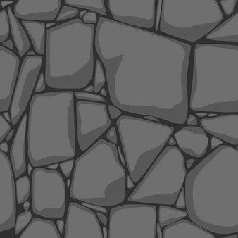 Plat naadloze steen textuur. grijze stenen achtergrond. zwart-wit naadloze textuur.