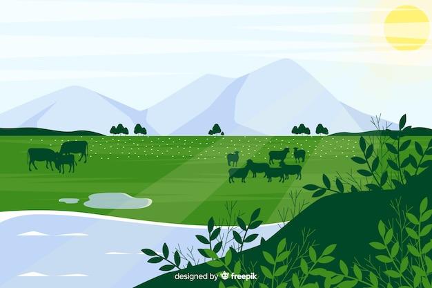 Plat natuurlijk landschap met bergen