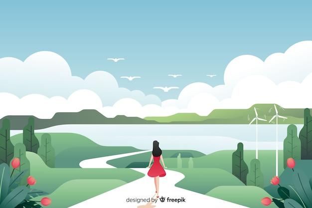 Plat natuurlijk landschap met lopende vrouw