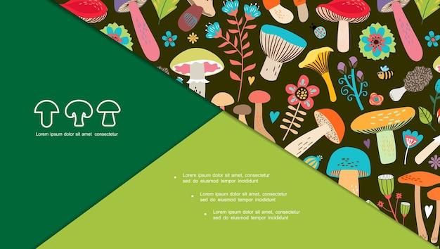 Plat natuurlijke champignonsamenstelling