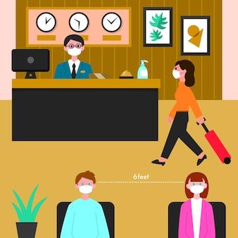 Plat nieuw normaal in hotelsillustratie