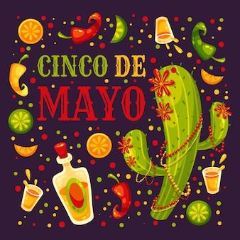 Plat ontwerp 5 mei mexicaans evenement met cactus