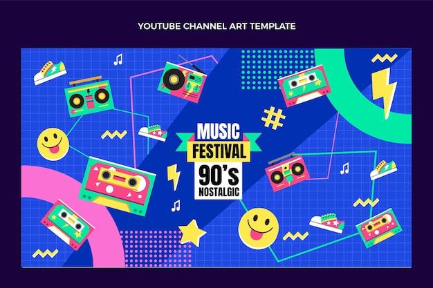 Plat ontwerp 90s muziekfestival youtube-kanaal