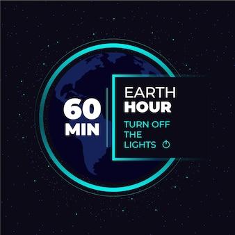 Plat ontwerp aarde uur 60 minuten