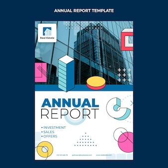 Plat ontwerp abstract geometrisch onroerend goed jaarverslag