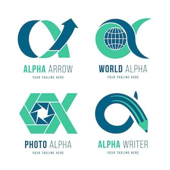 Plat ontwerp alpha logo pack